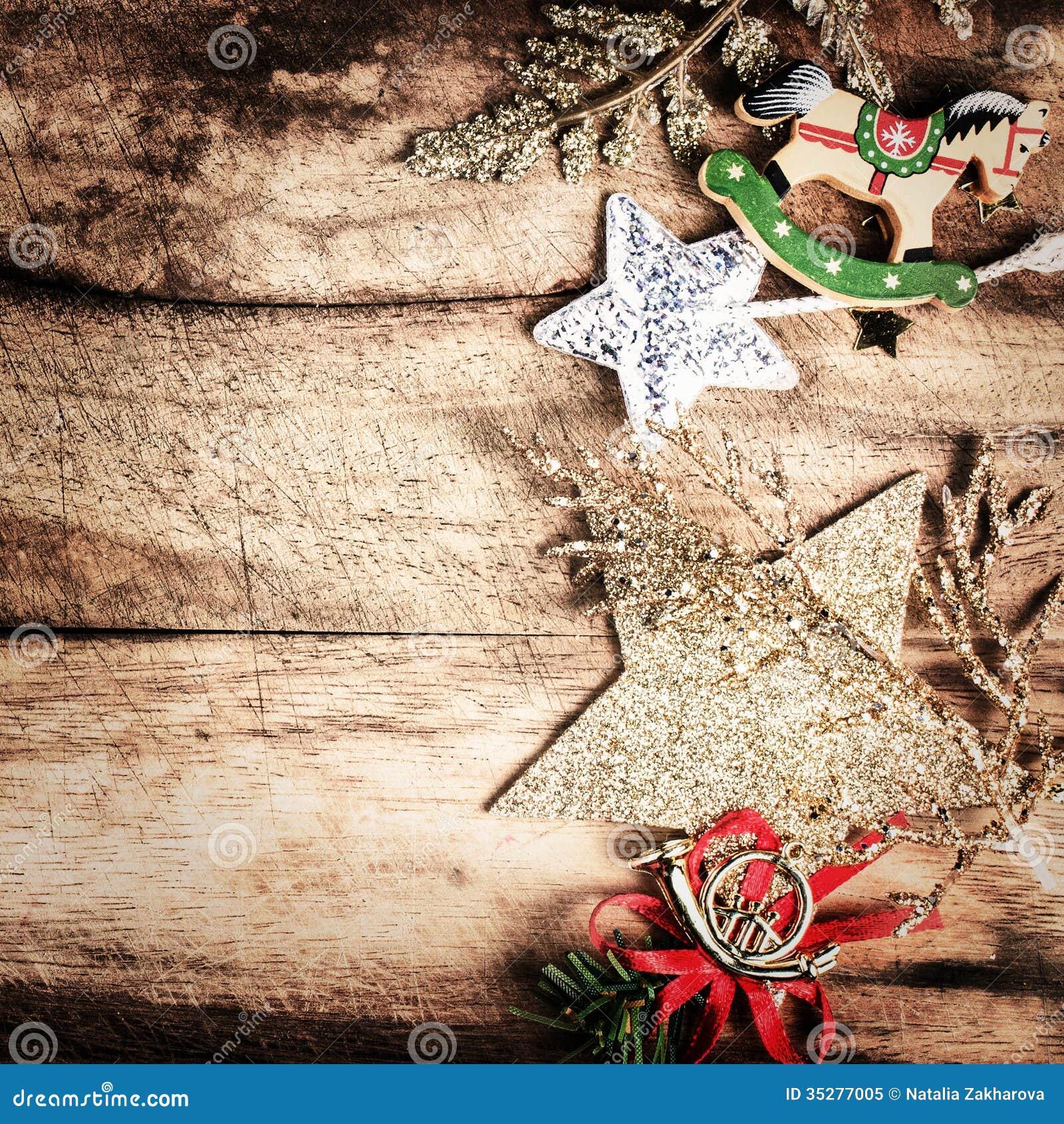 Decoraci n de la navidad del vintage en backgrou - Decoracion navidad vintage ...