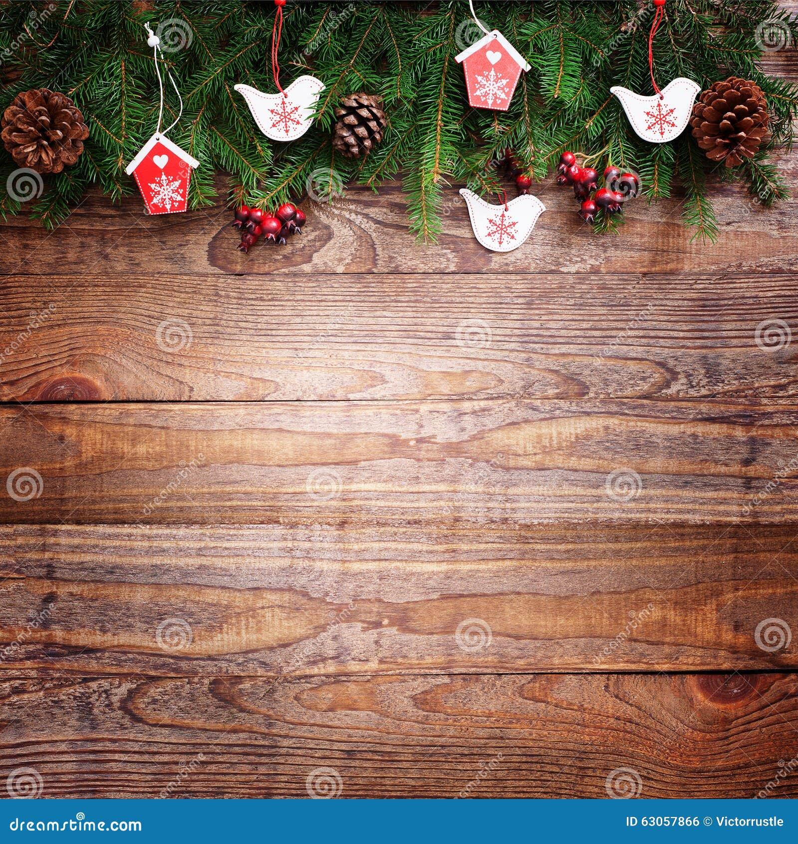 Decoraci n de la navidad sobre fondo de madera vintage de - Decoracion navidad vintage ...