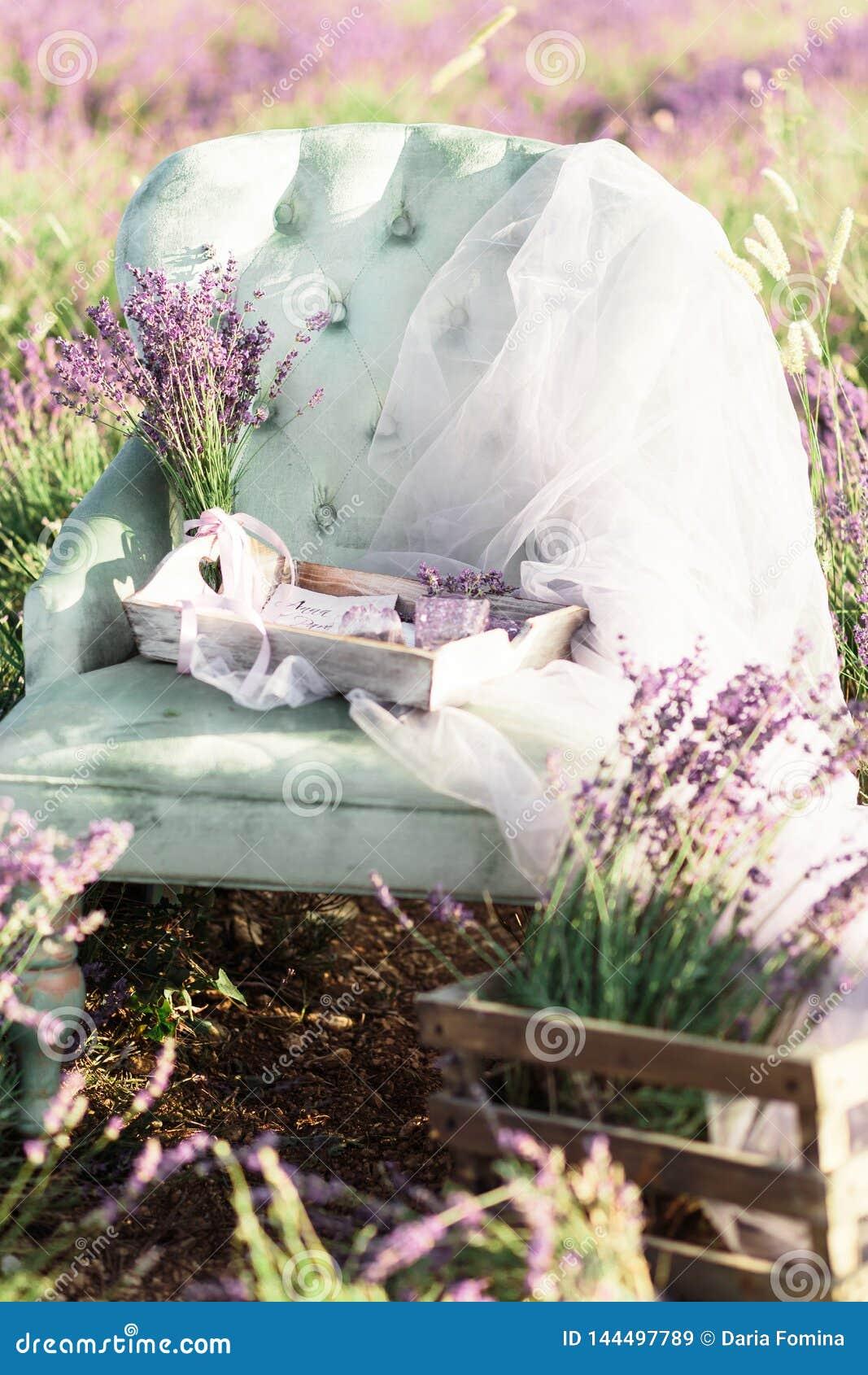 Decoración de la silla en campo de la lavanda del purpur en puesta del sol de oro