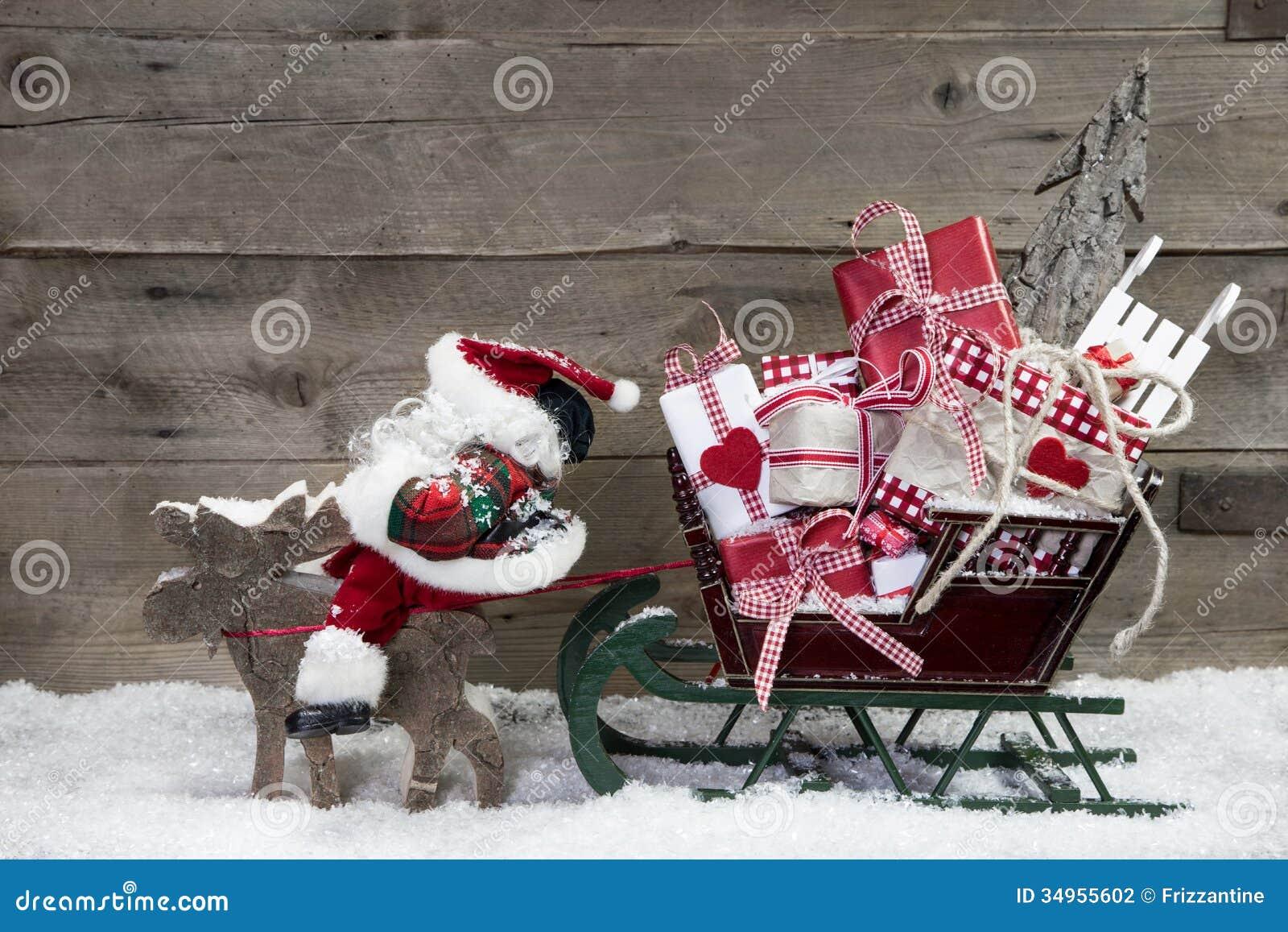 Decoraci n de la tarjeta de navidad alces que tiran del for Trineo madera decoracion