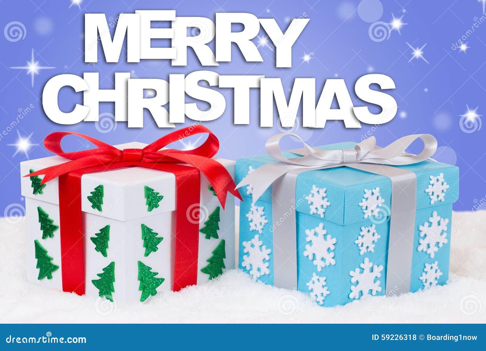 Decoración de los regalos de la tarjeta de la Feliz Navidad