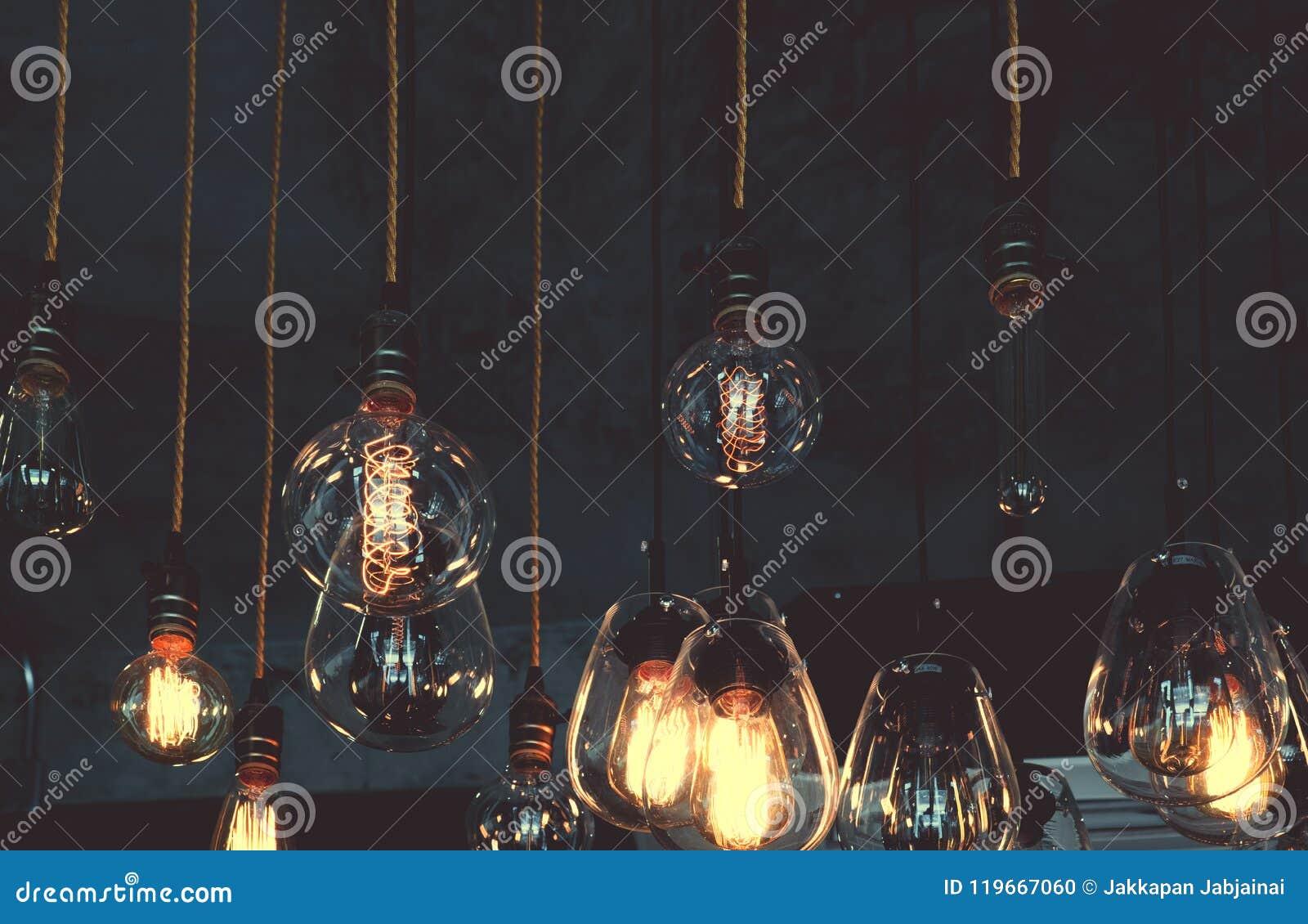 Decoración de lujo de la ejecución de la bombilla del vintage que brilla intensamente en oscuridad