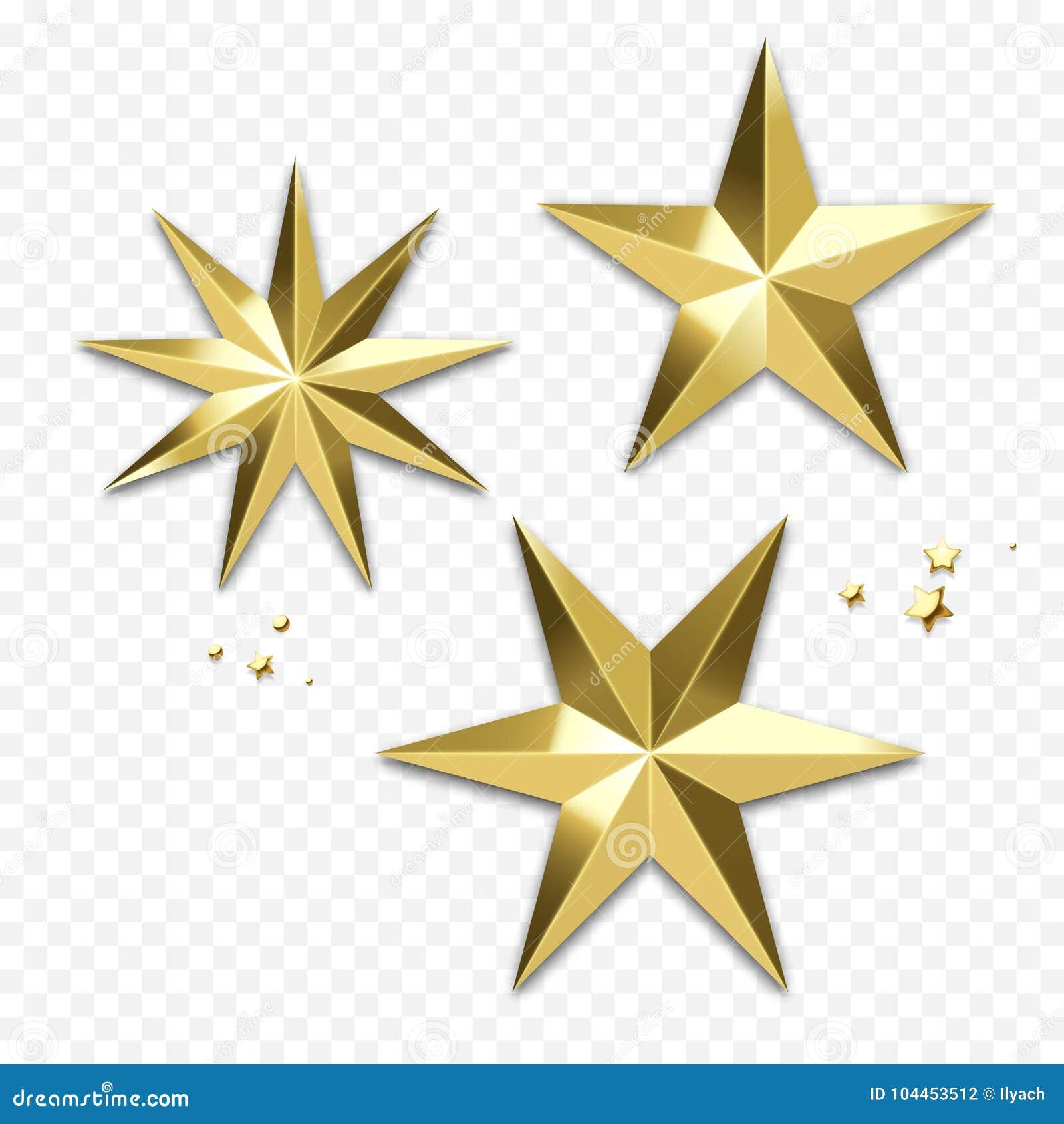 Decoración de oro de la estrella de la Navidad u ornamento que brilla del oro del copo de nieve para la tarjeta de felicitación d