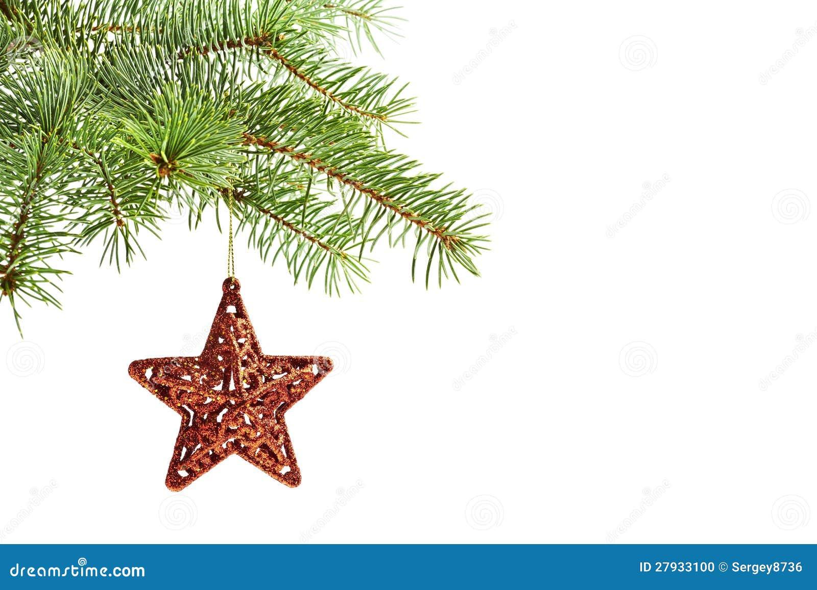 decoracin del rbol de navidad estrella roja foto de archivo