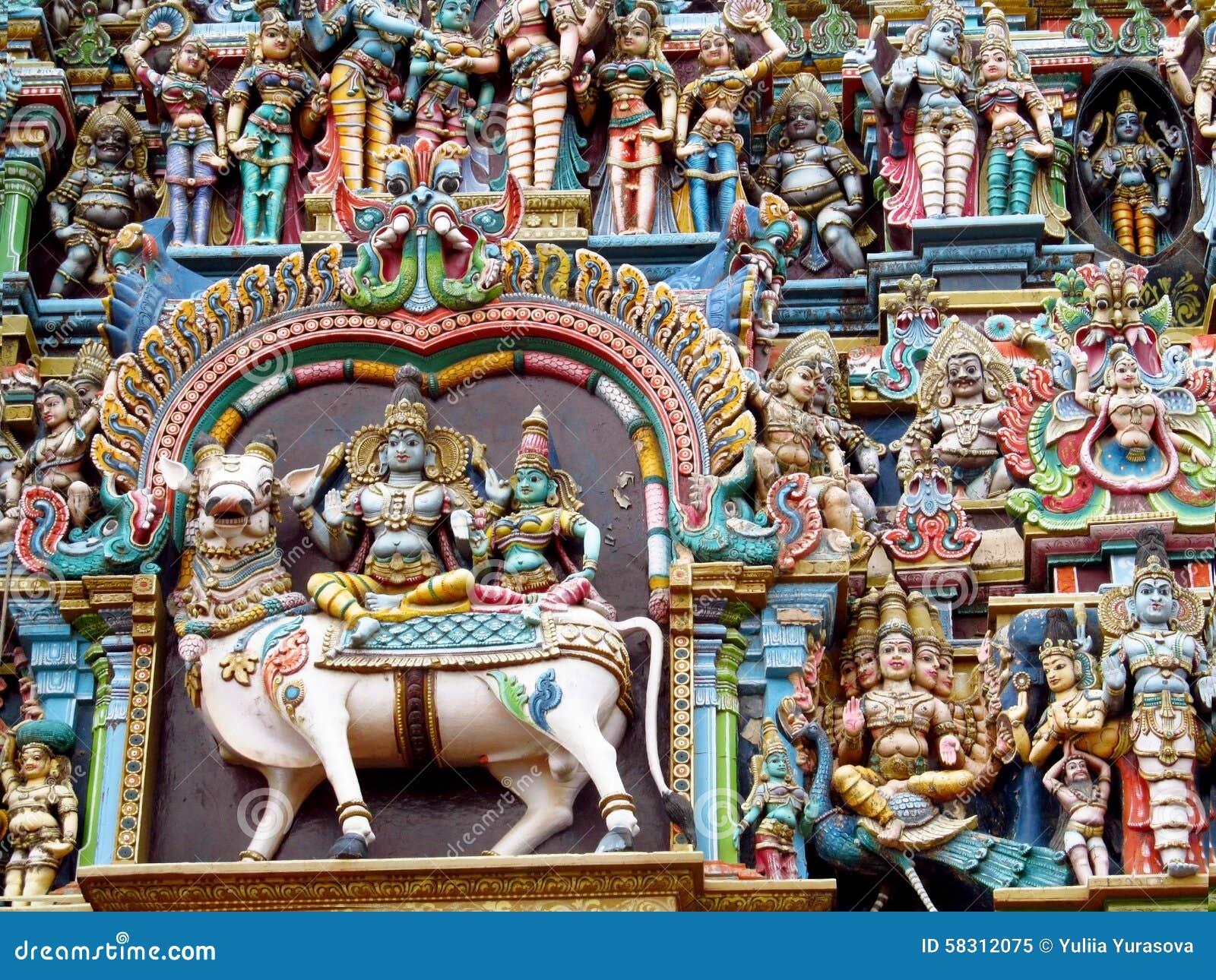 Decoración del templo hindú