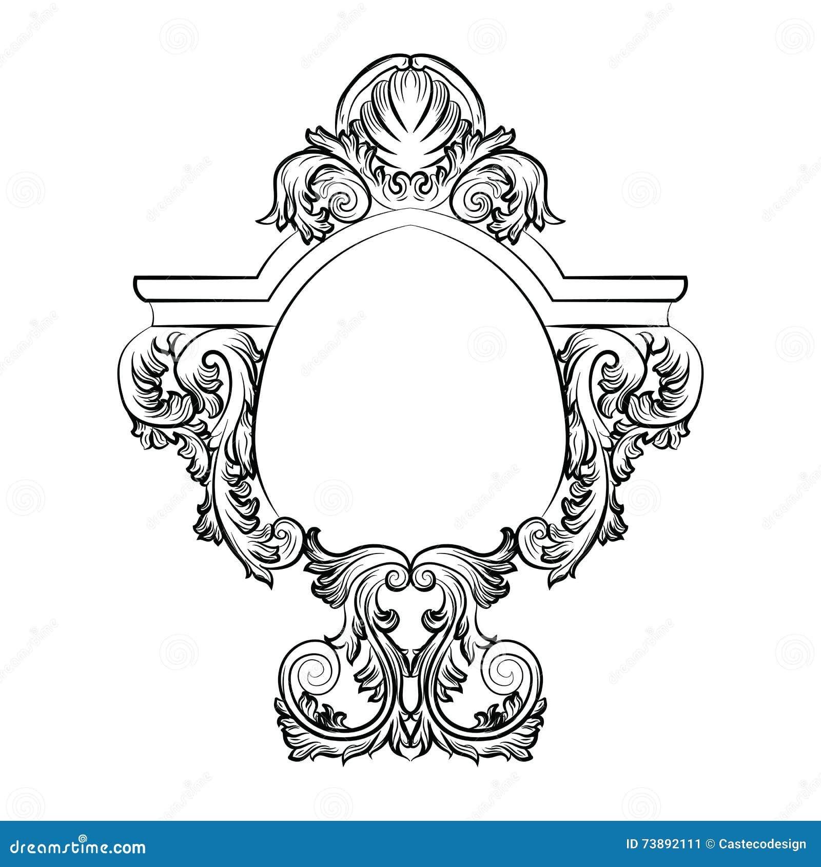 Marco Rococó Barroco Exquisito Del Espejo Ilustración del Vector ...