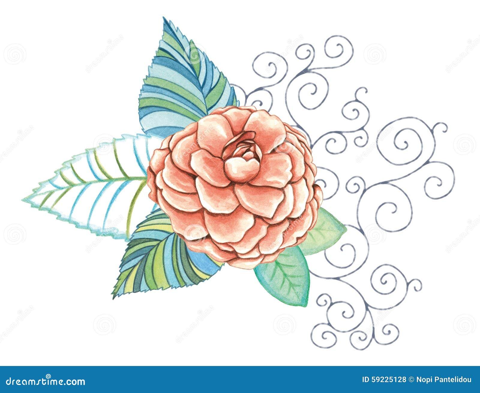 Decoración floral con la flor anaranjada de la peonía watercolor