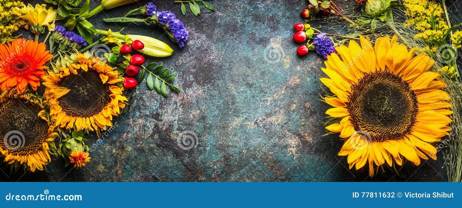 Decoración floral con los girasoles y flores y hojas de la caída en el fondo oscuro del vintage, visión superior
