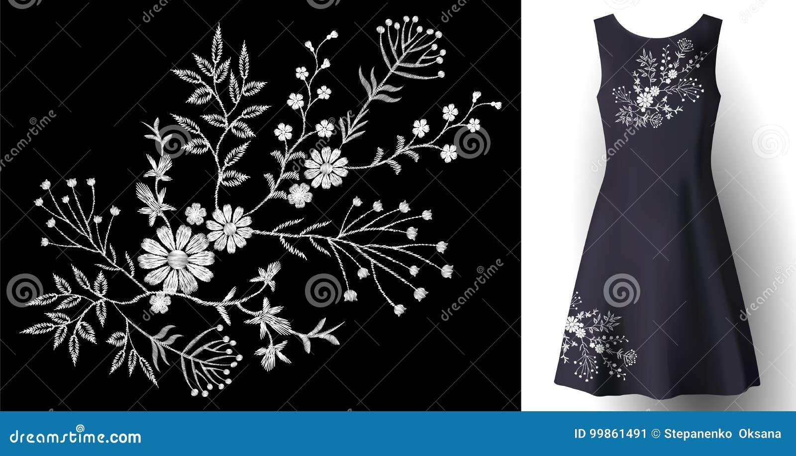 Decoración floral de la mujer del bordado realista del vestido la moda detallada 3d cosió el remiendo blanco del ornamento en azu