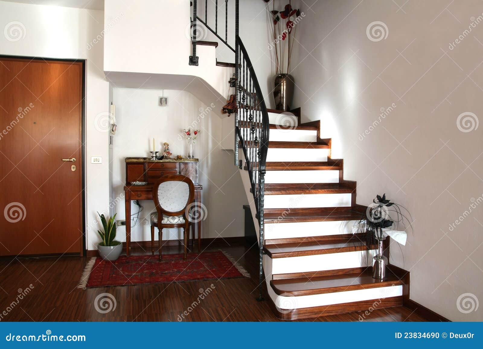 Decoraci n interior de un cuarto con las escaleras y el - Fotos de escaleras de interior ...