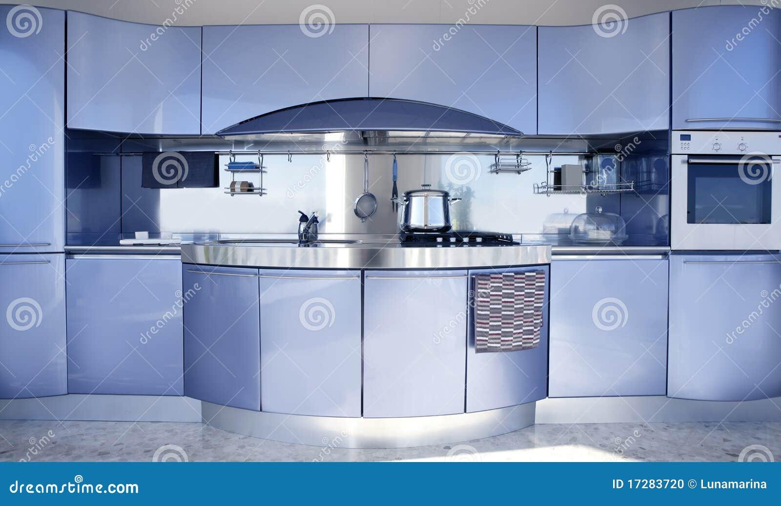 Decoraci N Moderna De La Configuraci N De La Cocina De Plata Azul  # Keuken Muebles De Cocina