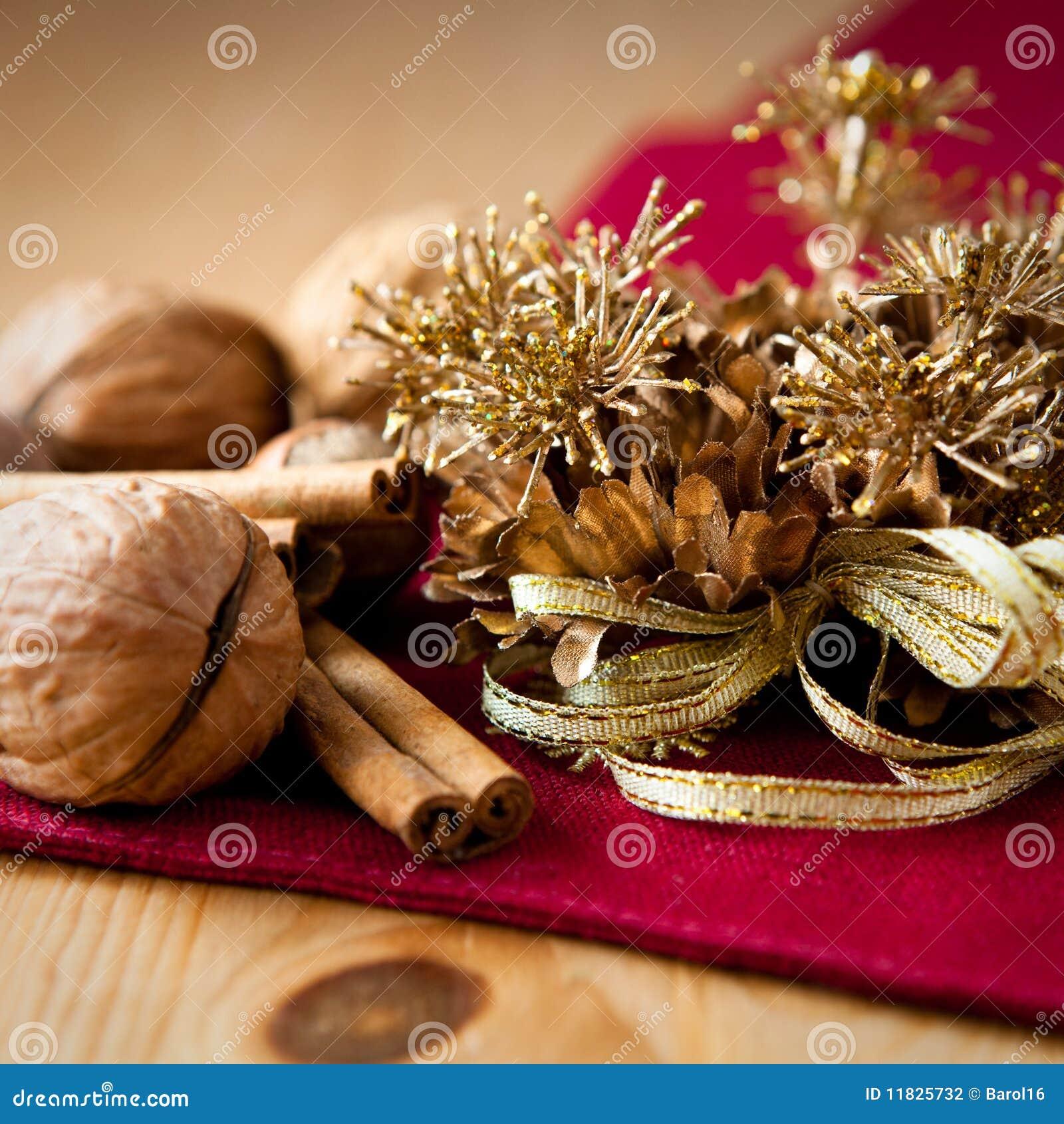 Decoracion Rustica De Navidad ~ Ci?rrese para arriba de la decoraci?n de oro de la Navidad