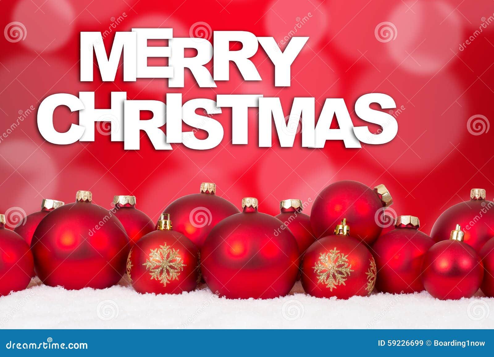 Download Decoración Roja De Las Bolas De La Tarjeta De La Feliz Navidad Imagen de archivo - Imagen de ornamentos, decoración: 59226699
