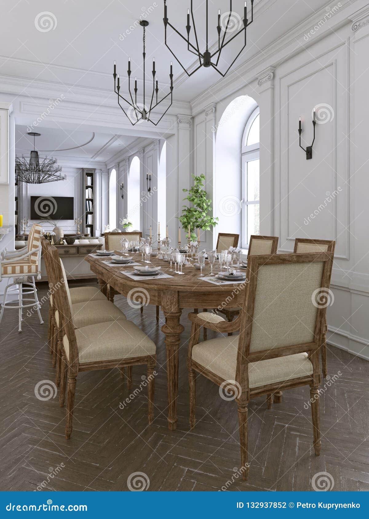 Decoración Y Muebles Del Comedor Moderno Stock de ...