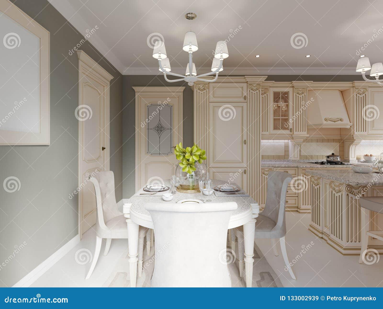 Decoración Y Muebles En Comedor Clásico Stock de ilustración ...