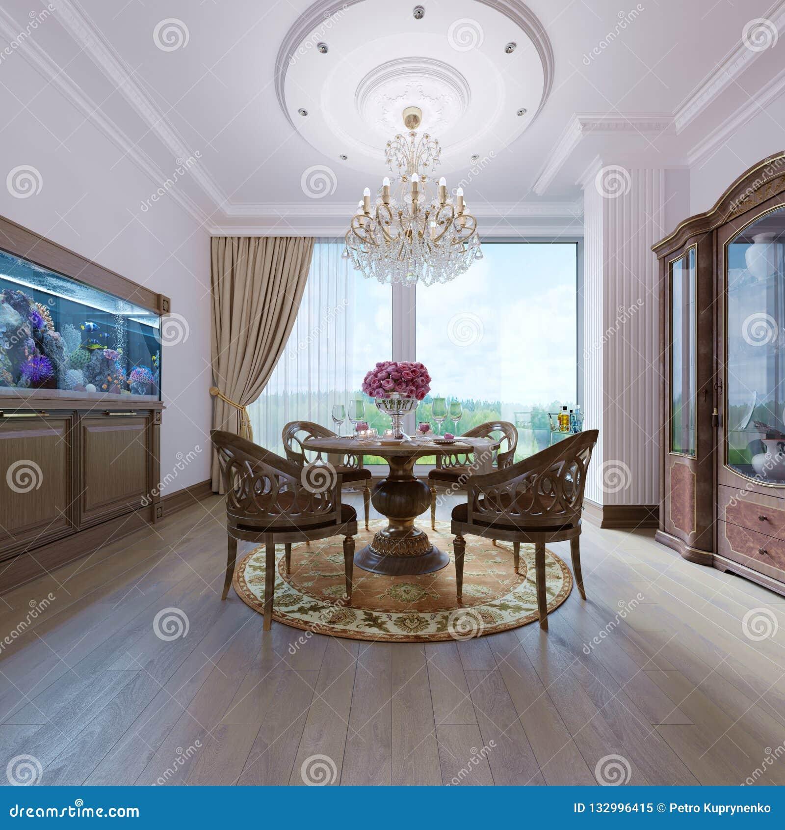 Decoración Y Muebles En Comedor Moderno Stock de ilustración ...