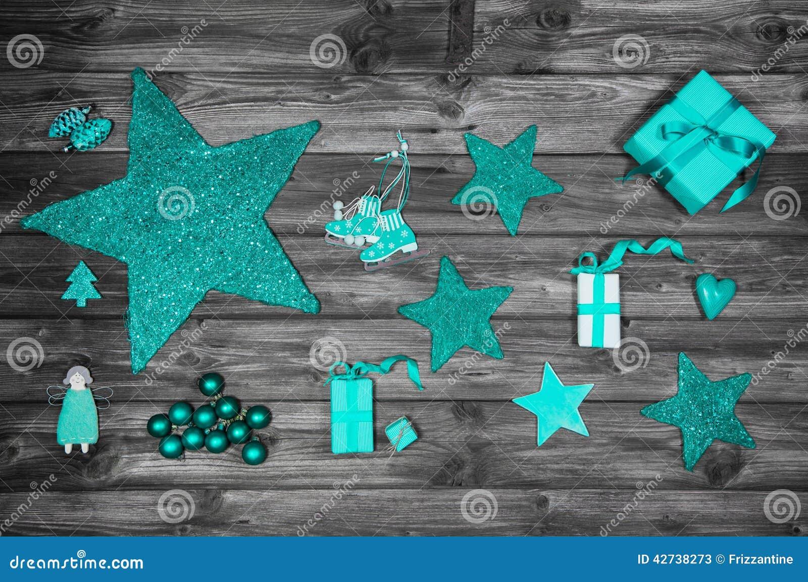 Decoraci n de la navidad en colores de la turquesa en for Decoracion en gris y turquesa