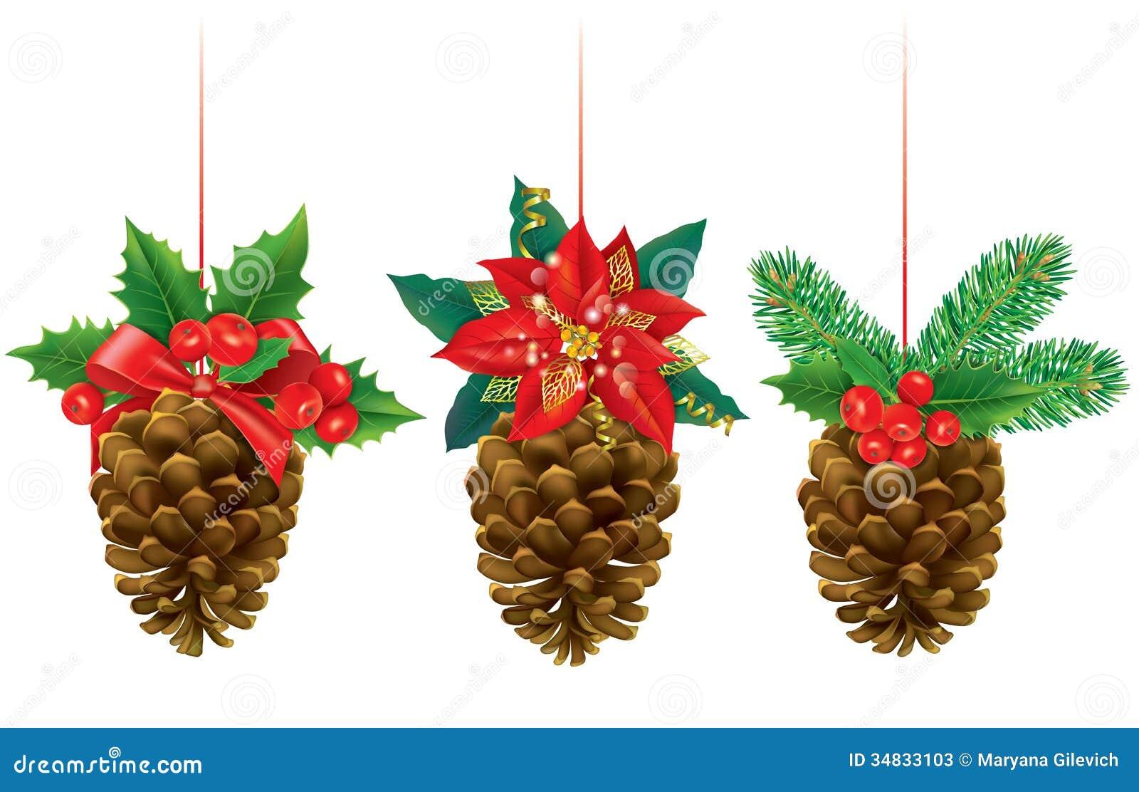 Decoraciones De La Navidad De Conos Del Pino Ilustración