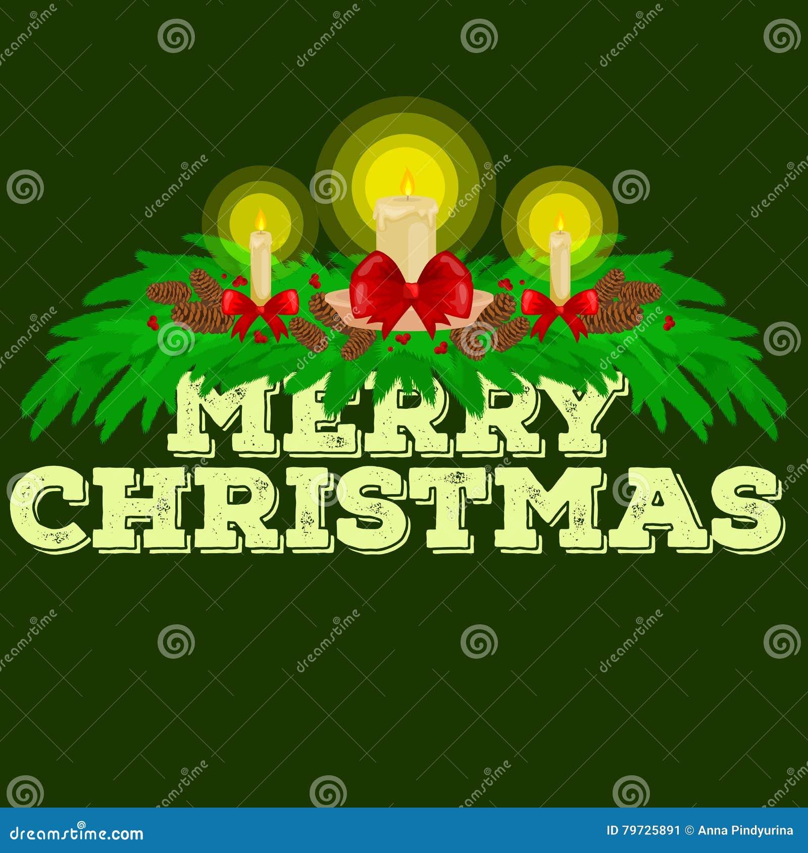 Decoraciones de la Navidad tales como velas en las ramas de la picea adornadas maravillosamente con los arcos y las cintas feliz