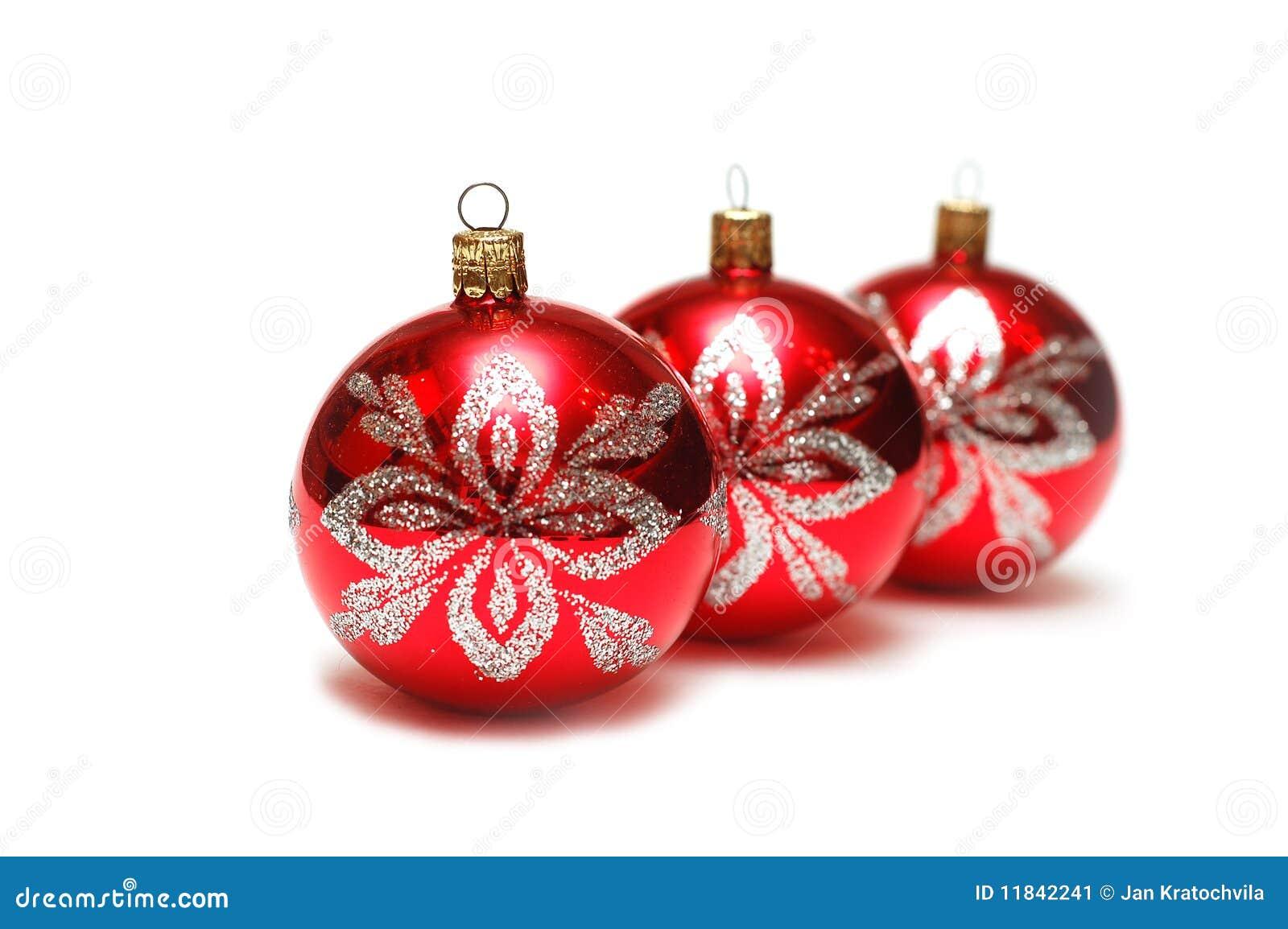 Decoraciones de la navidad tres bolas rojas en fila for Dibujos de navidad bolas