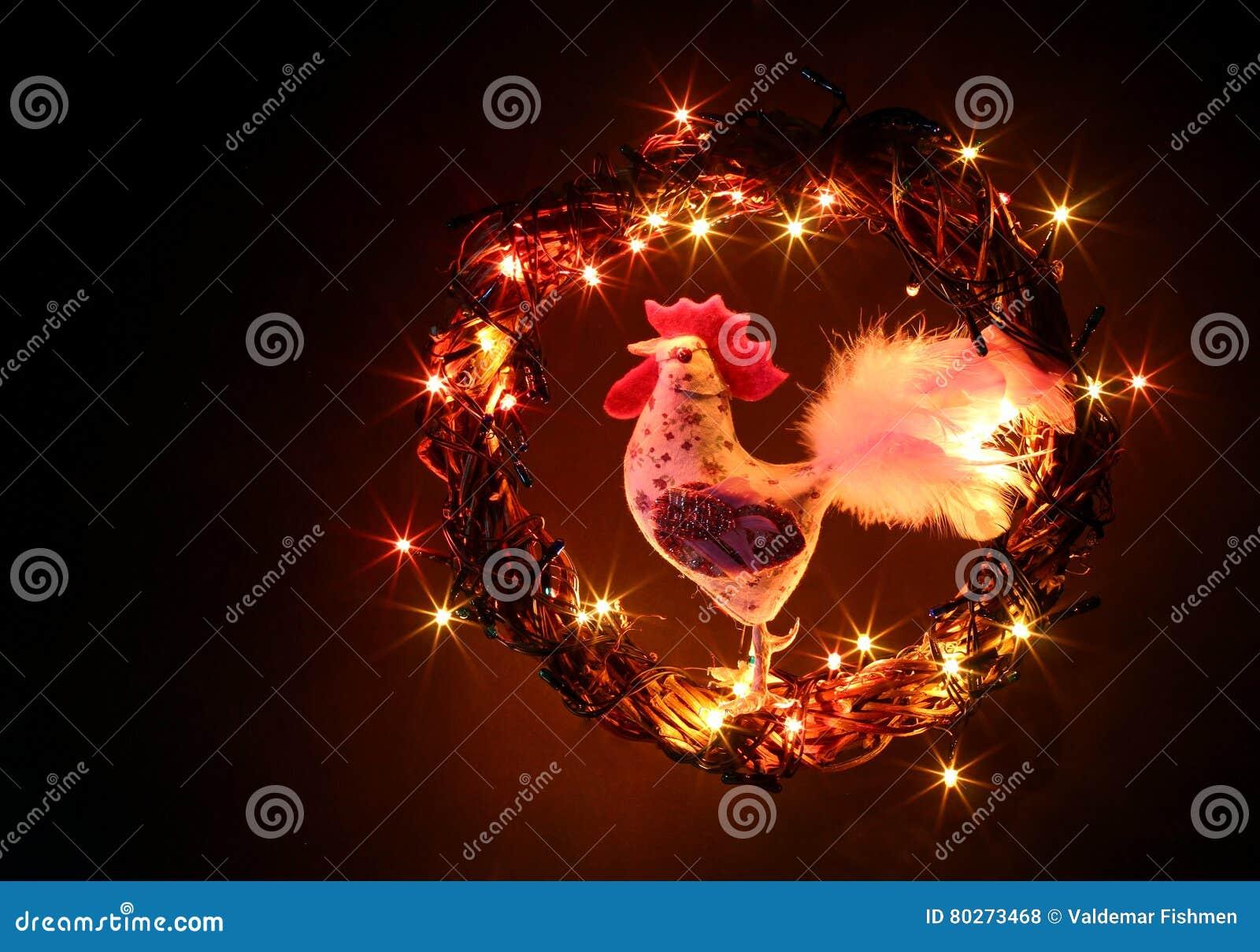 Decoraciones hechas a mano de los gallos del arte Tarjeta de la plantilla del día de fiesta de la Feliz Año Nuevo y de la Feliz N