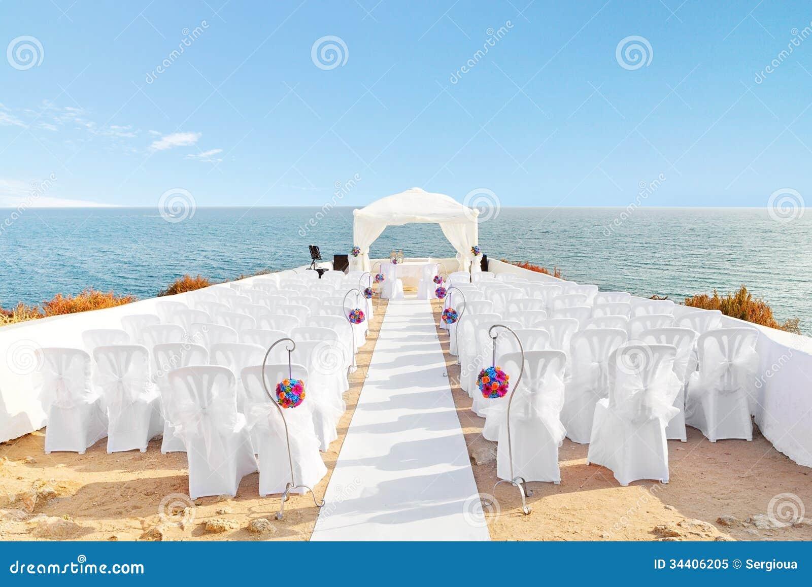 Decoraciones hermosas para la ceremonia de boda.