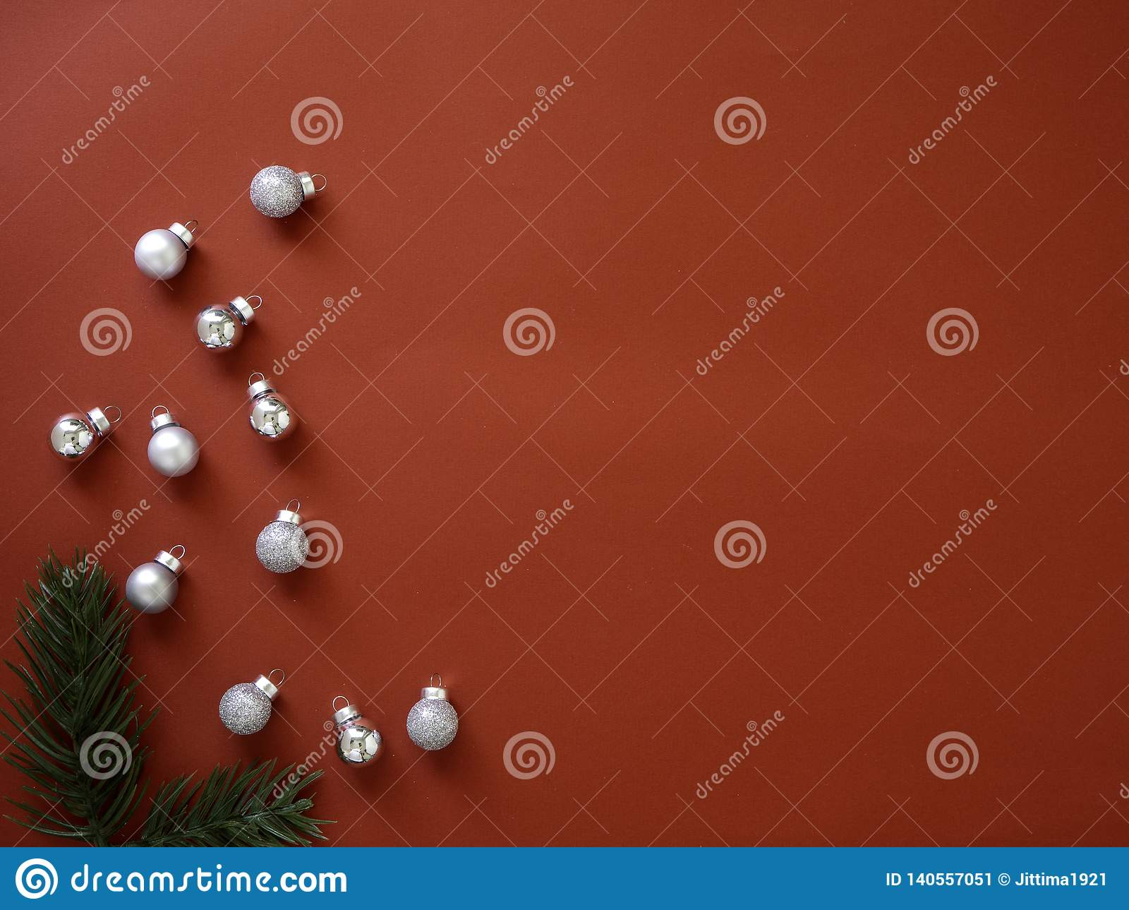Decorate Christmas and New Year on red background