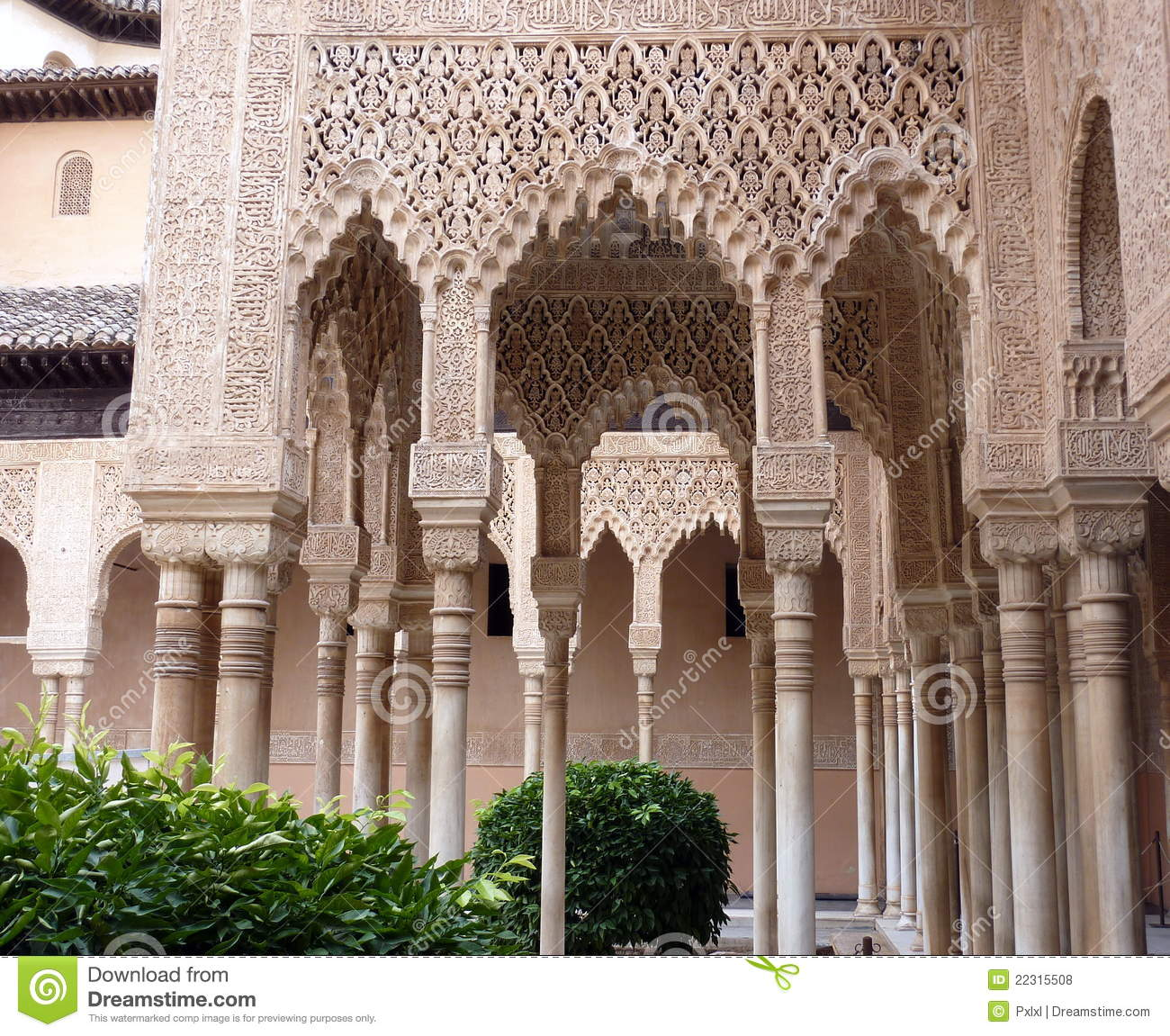 Decorated Arches And Columns In The Alhambra Royalty Free