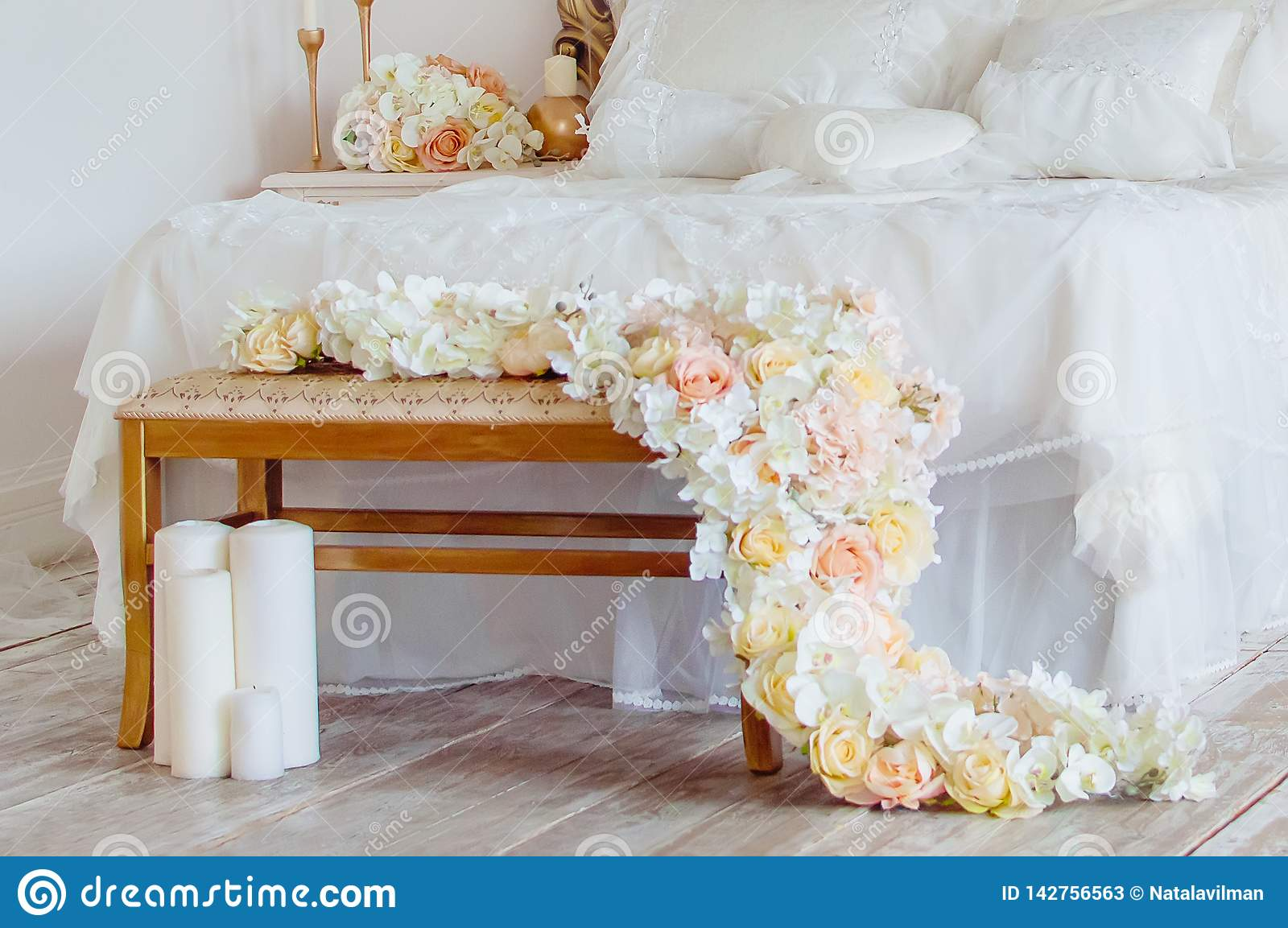 Decorated Bedroom Fragment Decoration Of Flowers And Candles Romantic Interior Stock Image Image Of Close Canopy 142756563