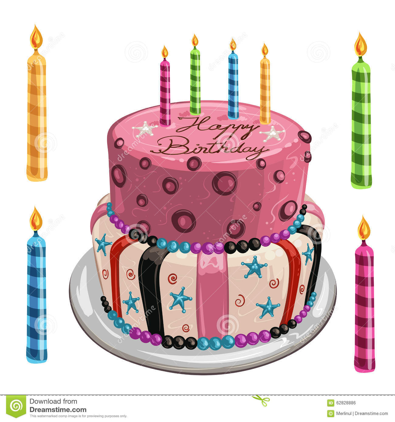 Decorated Birthday Cake Stock Vector Illustration Of Large