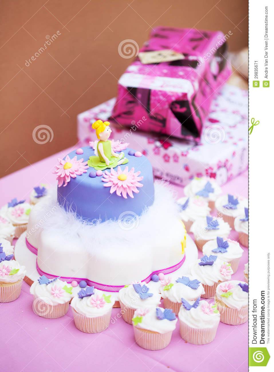 Decorated Birthday Cake For A Little Girl Stock Image - Image ...