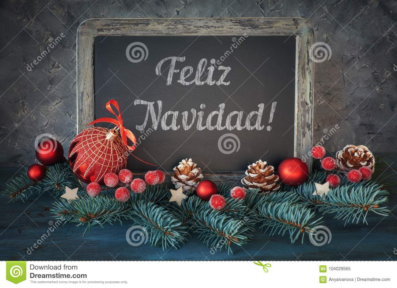 Christmas Wishes In Spanish.Decorated Blackboard With Christmas Greeting In Spanish On