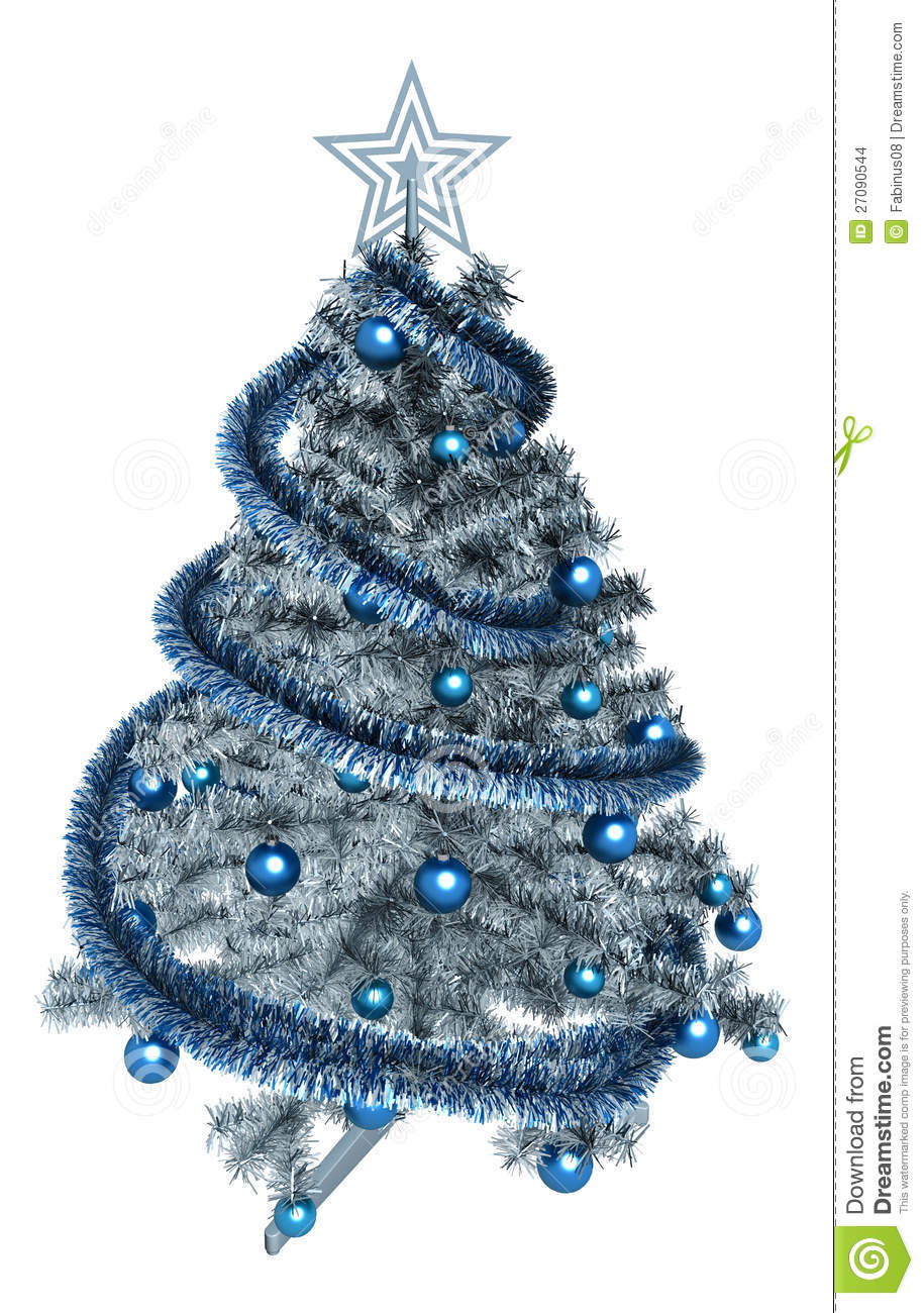 White christmas trees decorated blue decorated blue christmas tree