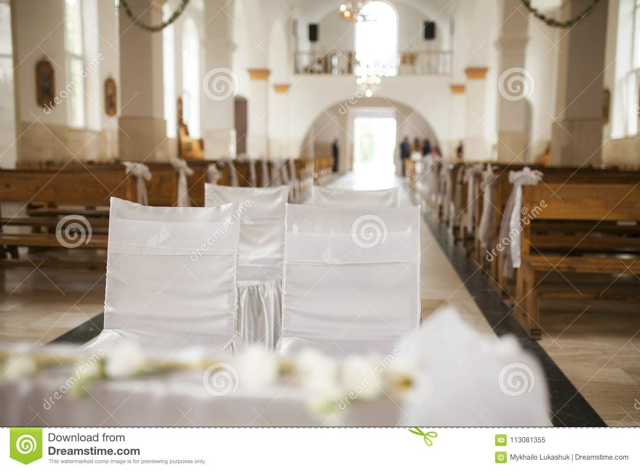 Decorated Chairs Inside Church On Marriage Ceremony Stock Image ...