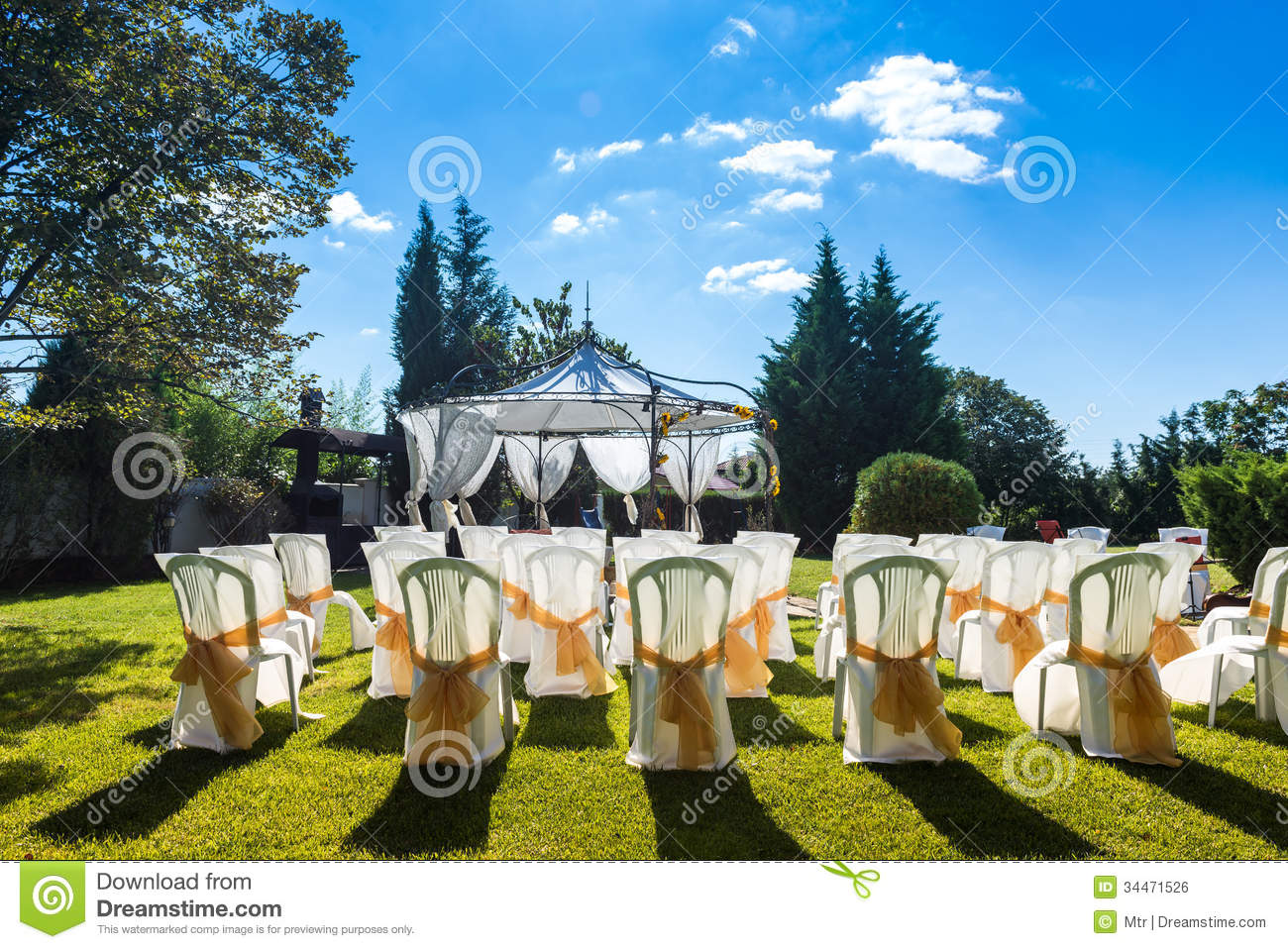 Wedding garden chairs - Decorated Chairs On A Outdoor Wedding Royalty Free Stock Image