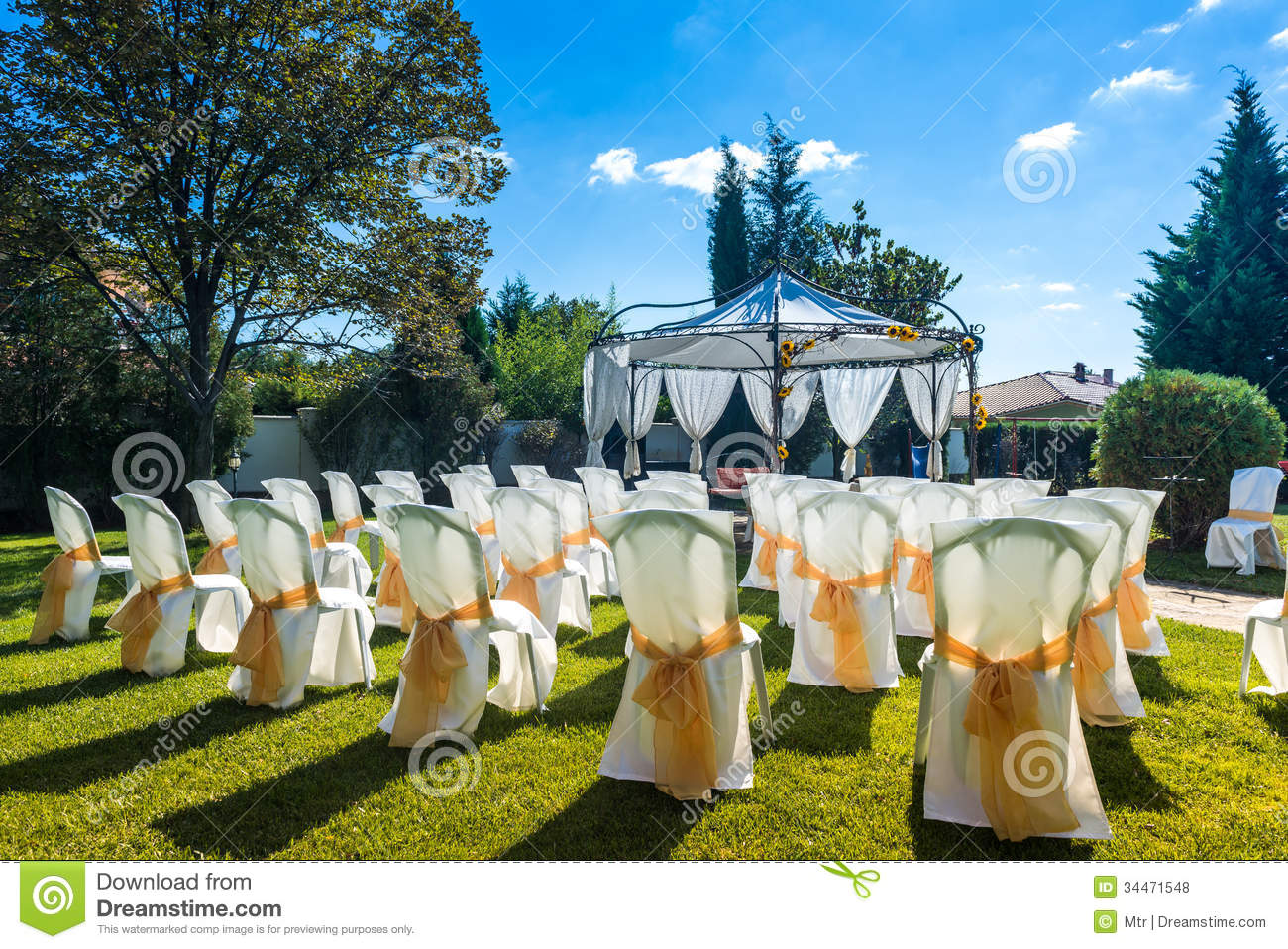 Decorated Chairs On A Outdoor Wedding Stock Photo Image  : decorated chairs outdoor wedding garden party 34471548 from www.dreamstime.com size 1300 x 958 jpeg 308kB