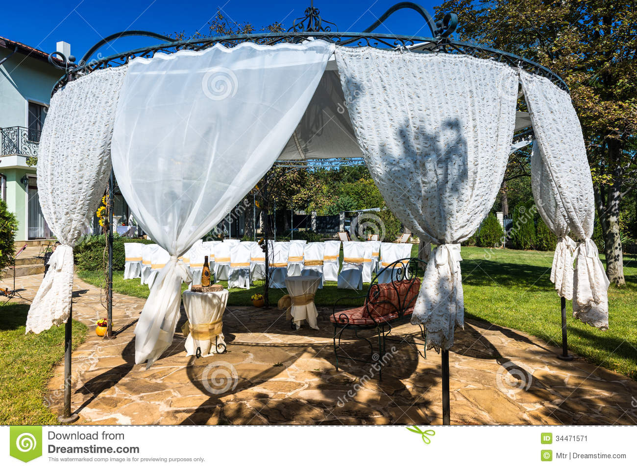 Decorated Chairs On A Outdoor Wedding Stock Image - Image: 34471571
