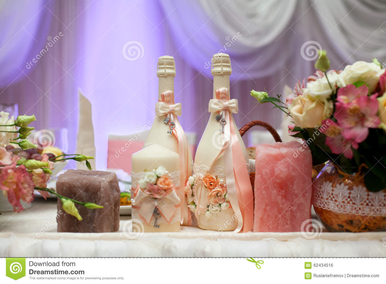 Champagne Bottle Decoration Decorated Champagne Bottles Candles And Flowers On Wedding Table
