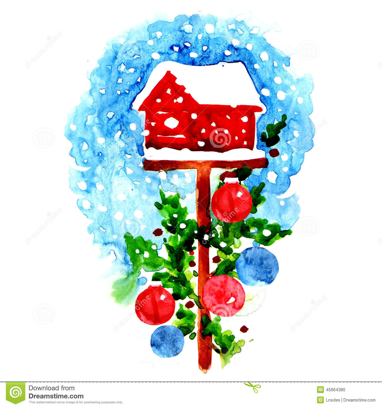 Decorated Christmas Birdhouse Stock Illustration Image