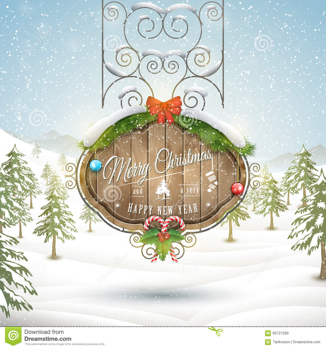 Decorated Christmas Board Vector Illustration Stock Vector