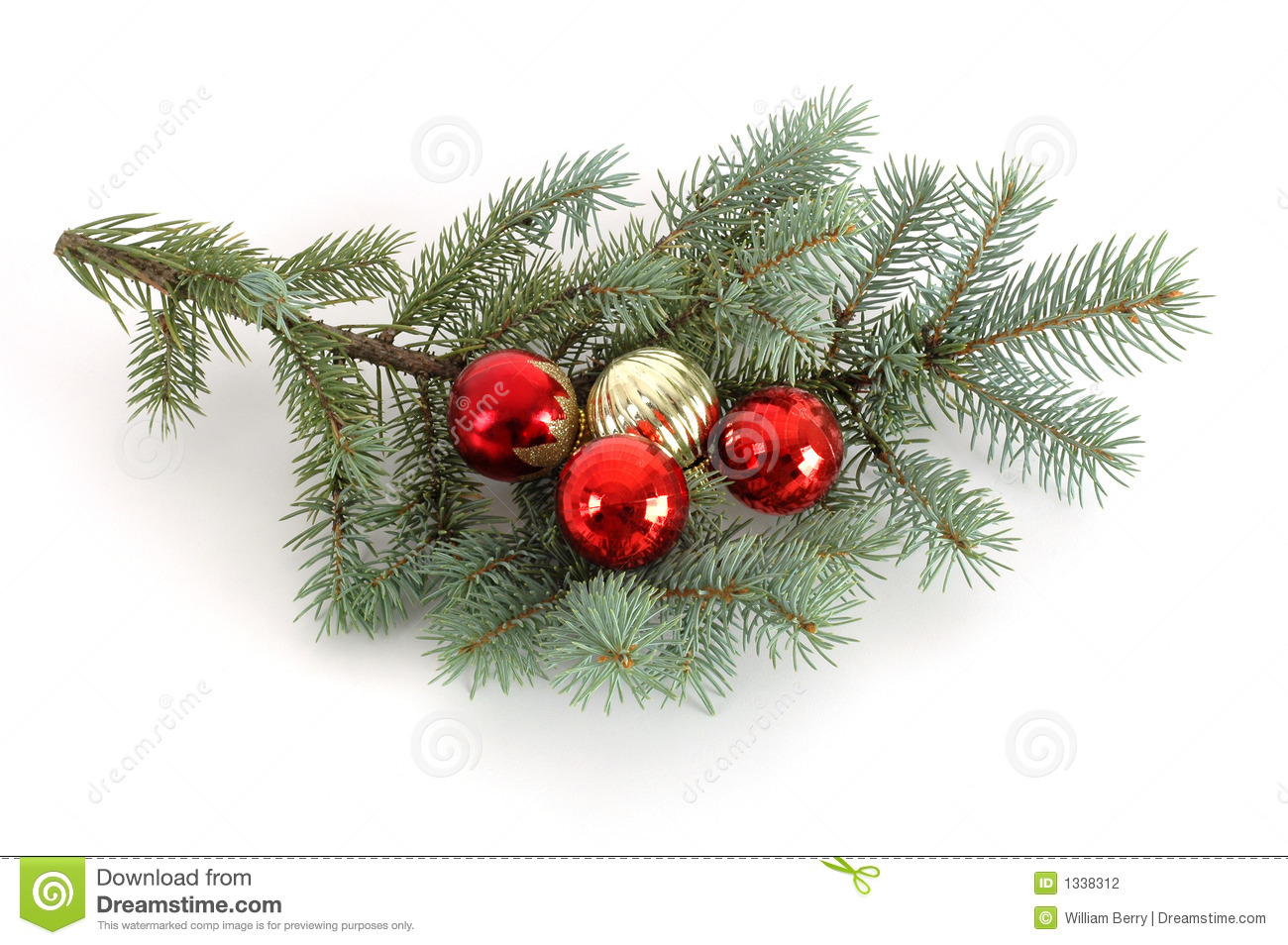 Decorated Christmas Bough Stock Photography - Image: 1338312