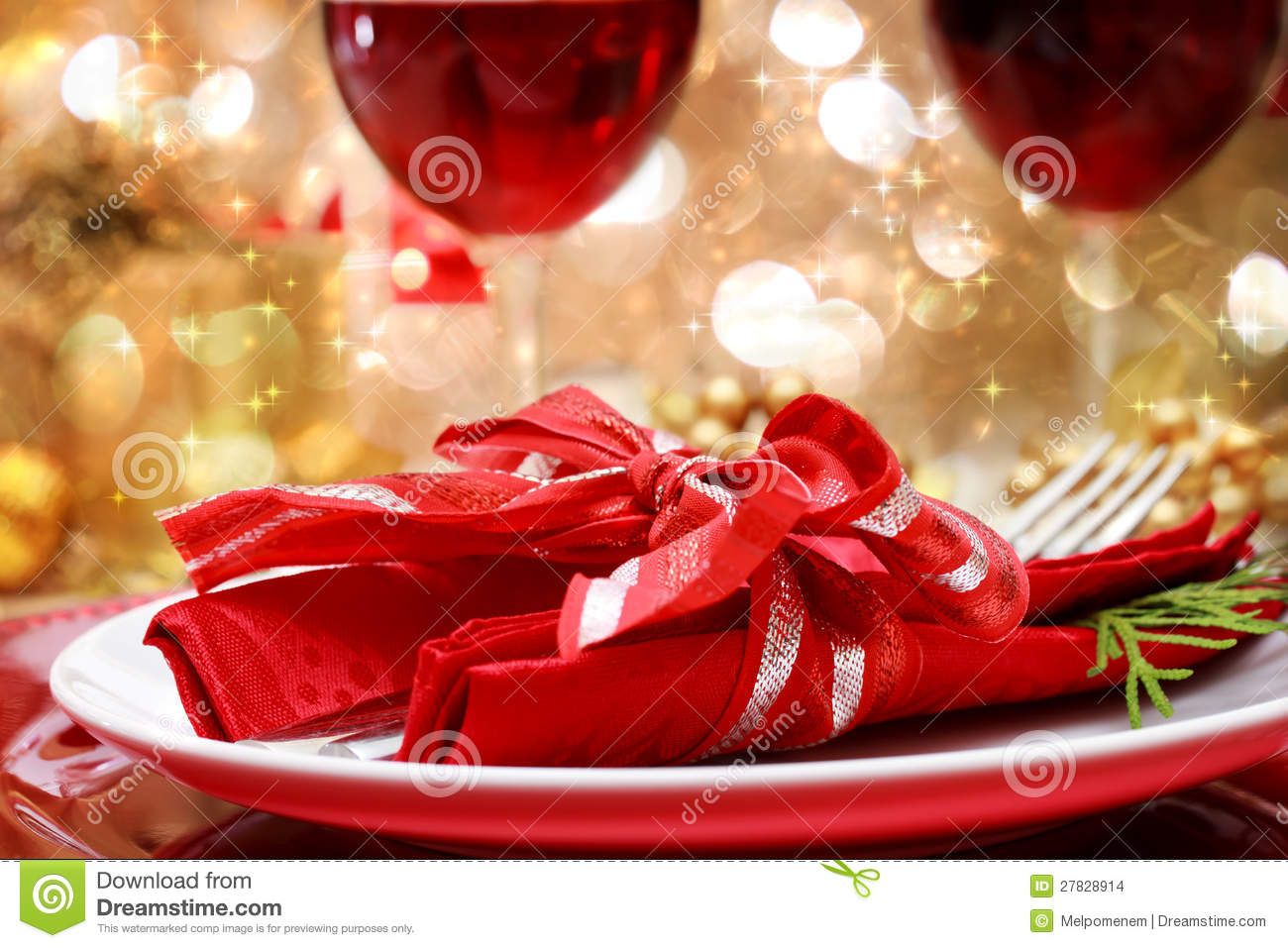 Decorated Christmas Dinner Table Stock Image
