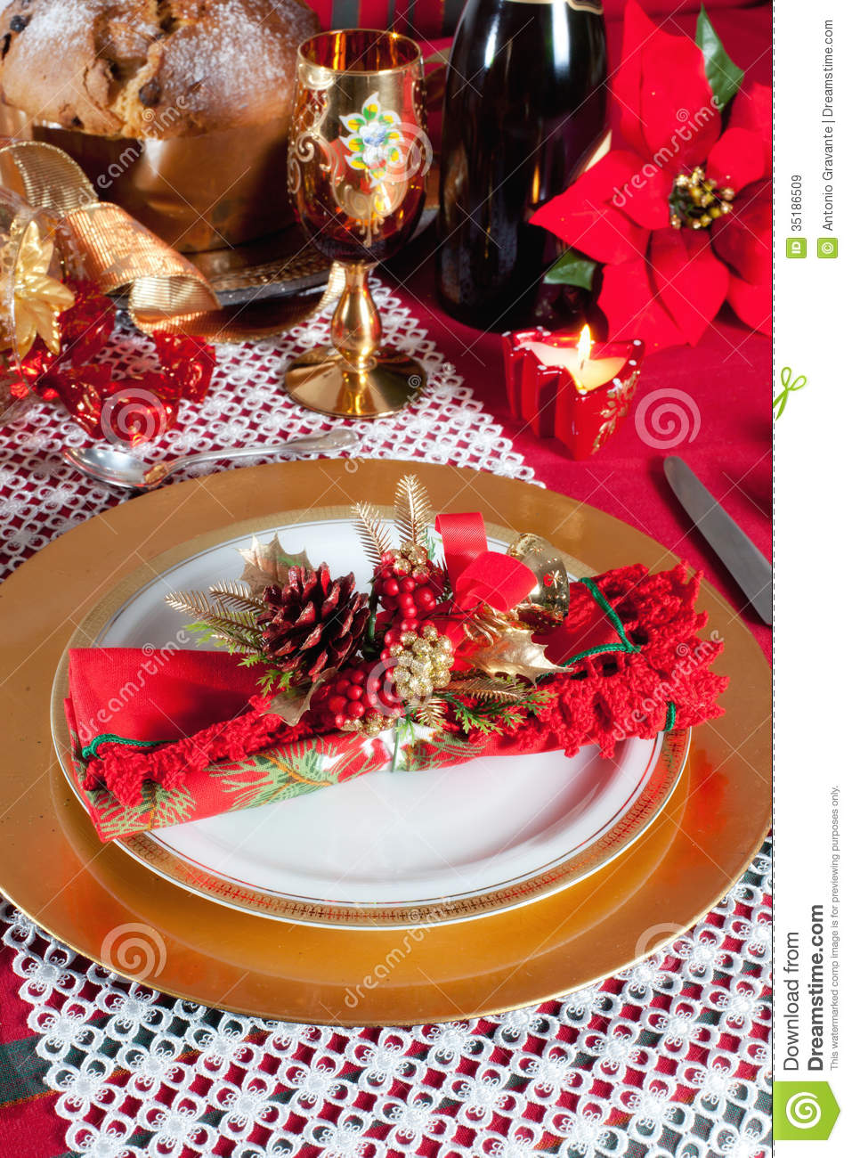 Decorated Christmas Dinner Table Setting Stock Image