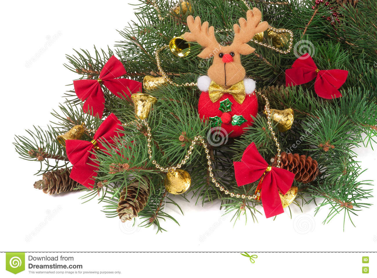 Decorated Christmas fir branch isolated on white background