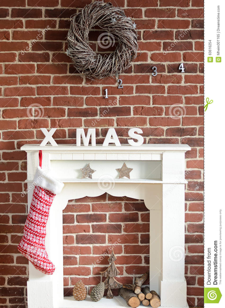 christmas wreath on rustic brick wall royalty free stock photo 80514573. Black Bedroom Furniture Sets. Home Design Ideas