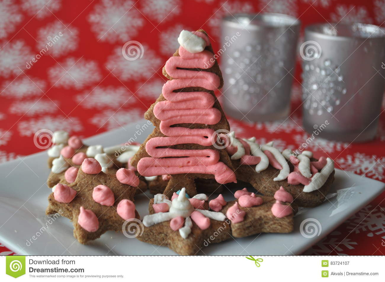 Decorated Christmas Honey Cookies On Winter Background With Snowflakes Stock Photo