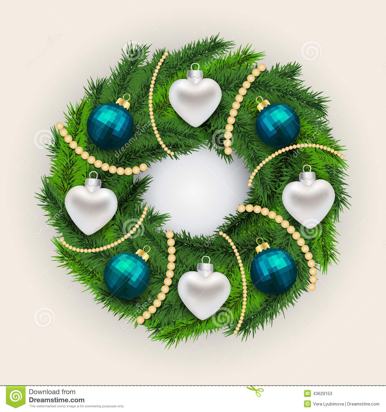 Decorated christmas pine wreath stock vector image