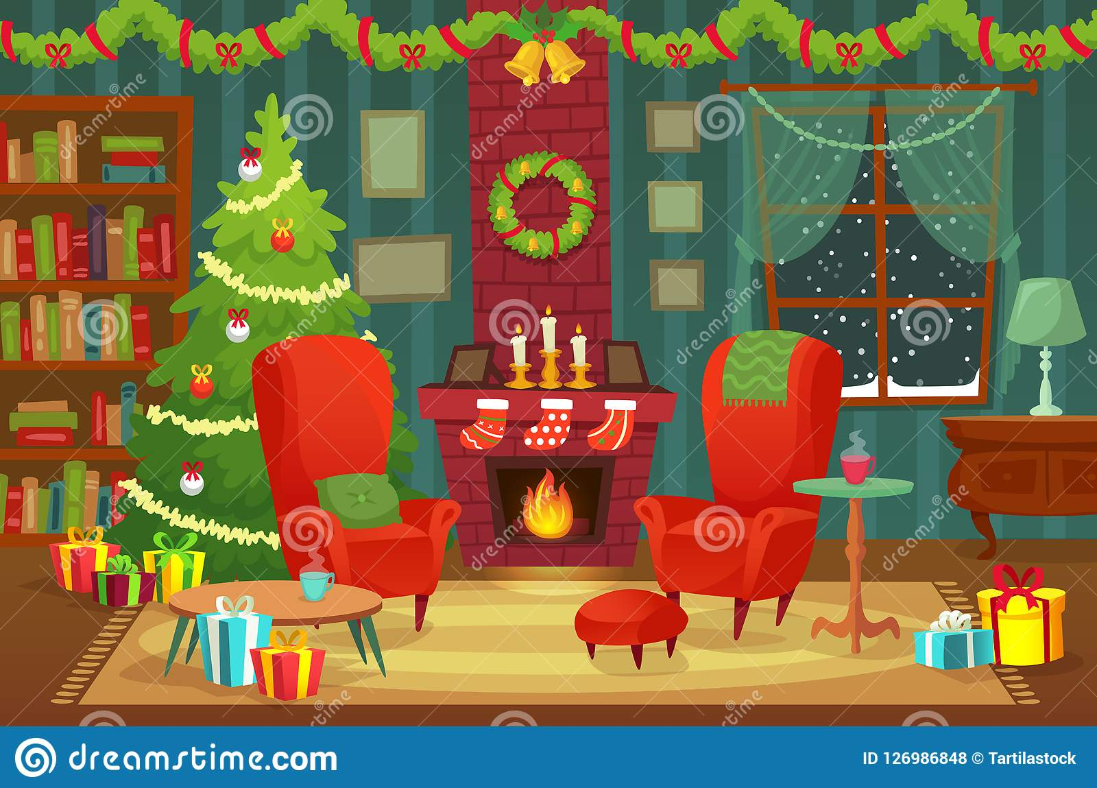 Decorated christmas room. Winter holiday interior decorations, armchair near fireplace and xmas tree vector background