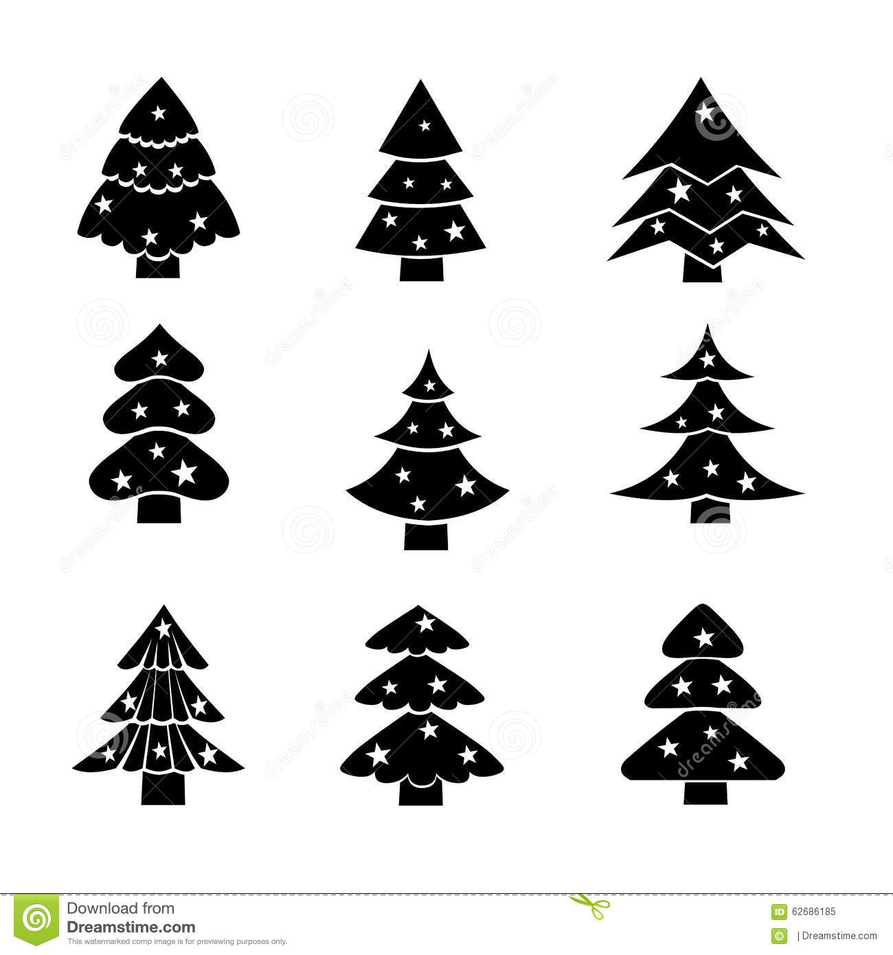 decorated christmas tree black silhouette illustration stock vector