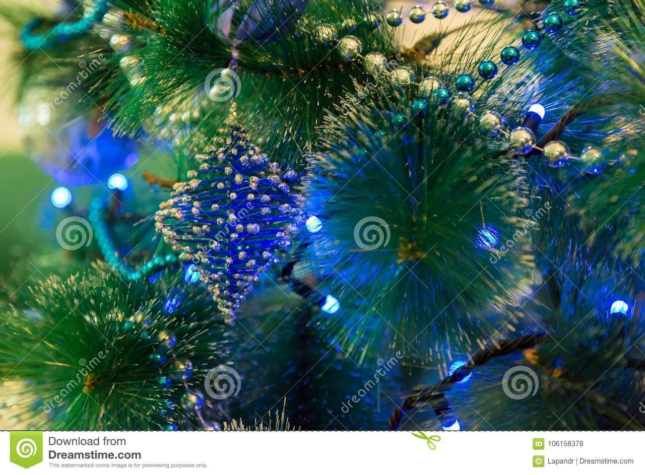 download decorated christmas tree with blue lights white christmas ball and garland stock photo - How To Decorate A White Christmas Tree In Blue